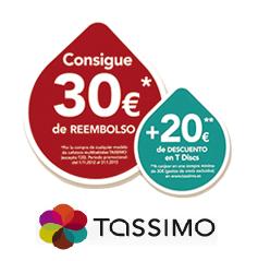 tassimo poromocion Promoción Tassimo: Reembolso 30 Euros + cupón descuento de 20 Euros